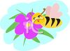 Image of a bumble bee smelling a flower in a vector clip art illustration clipart