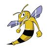 clip art image of an angry bee with blue wings grinding his teeth in a vector clip art illustration clipart