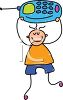 Little boy with a cell phone or smartphone clipart