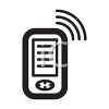 Icon of a cell phone with waves or microwaves coming from it clipart