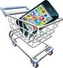 Smartphone or cellphone in a shopping cart indicating mobile online shopping clipart