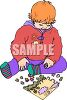 Picture of a toddler putting a puzzle together in a vector clip art illustration clipart