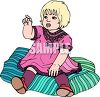 Picture of a female toddler sitting on a blanket in a vector clip art illustration clipart