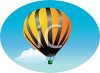 A single hot air balloon floating through the sky clipart