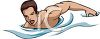 Clip art illustration of a man swimming  clipart