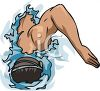 Picture Of a man swimming in a vector clip art illustration clipart