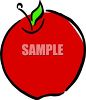 Picture Of A Bright Red Apple With A Leafy Stem In a Vector Clip Art Illustration clipart
