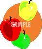 Picture Of a green, yellow, and red Apple In A Vector Clip Art Illustration clipart