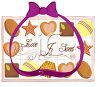 Picture of an assortment of fine chocolates with a purple ribbon clipart