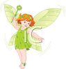 Picture of an adorable child fairy waving her wand wearing all green in a vector clip art illustration clipart