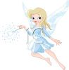 picture of a fairy wearing all blue waving her magical wand in a vector clip art illustration clipart