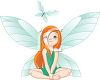 picture of a fairy sitting down watching a blue butterly in a vector clip art illustration clipart