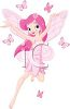 picture of a fairy dressed in all pink flying with pink butterflies in a vector clip art illustration clipart