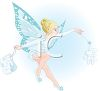 picture of a tooth fairy in blue colors waving her wand, making a tooth form in a vector clip art illustration clipart