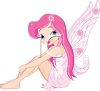 picture of a cute fairy wearing pink sitting down in a vector clip art illustration clipart