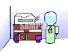 Office water cooler and office copier clipart