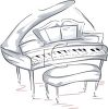 picture of a drawing of a piano and bench in a vector clip art illustration clipart