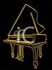 Picture Of A Silhouette of an outline of gold piano on a black background clipart