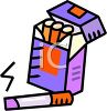 picture of an opened carton of cigarettes with a cigarette laying on the outside of the pack smolderding clipart