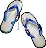 picture of a pair of blue flip flop sandals in a vector clip art illustration clipart