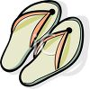 Picture of a pair of peach colored flip flop sandals in a vector cli art illustration clipart
