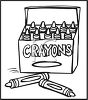 Picture of a box of crayons in a vector clip art illustration clipart