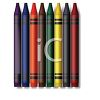 Picture of a row of colorful crayons in a vector clip art illustration clipart
