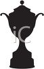 Silhouette of a trophy, the type that might be awarded to a winning athlete clipart