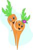 Picture of two bright orange fresh carrots with happy faces in a vector clip art illustration clipart
