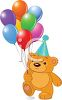 Picture of a stuffed teddy bear holding a bouquet of colorful balloons clipart