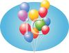 picture of a colorful balloon bouquet tied together in a vector clip art illustration clipart
