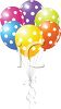 picture of helium balloons with white spots tied together in a vector clip art illustration clipart