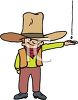 picture of a young boy wearing a large cowboy hat in a vector clip art illustration clipart