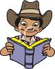 Picture of a young boy wearing a cowboy hat and reading a book in a vector clip art illustration clipart