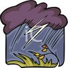 picture of a windy scenery with a rain cloud and lightening in a vector clip art illustration clipart