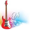 picture of a red and white electric guitar in a vector clip art illustration clipart