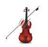 picture of a cello and bow in an upright position on a white background in a vector clip art illustration clipart