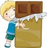 Boy hugging a giant chocolate bar clipart