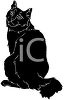 picture of a silhouette of a cat sitting looking over it's shoulder in a vector clip art illustration clipart