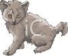 picture of a young gray kitten in a vector clip art illustration clipart