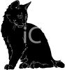 picture of a silhouette of a cat sitting and looking down in a vector clip art illustration clipart