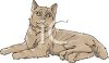 Picture of a brown cat laying down relaxing in a vector clip art illustration clipart