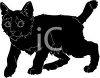 picture of a black kitten walking in a vector clip art illustration clipart