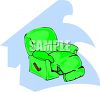 picture of a green recliner on a blue background in a vector clip art illustration clipart