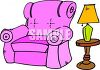 picture of a pink recliner, lamp, and lampstand in a vector clip art illustration clipart