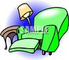 picture of a green recliner knocking over a lamp and table clipart
