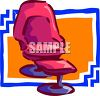picture of a pink recliner and footstool in a vector clip art illustration clipart