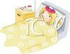 sick little girl in bed with a thermometer and icepack clipart