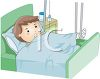 boy in bed with a broken leg clipart