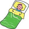 sick child in bed with mumps or measles or chickenpox clipart